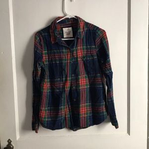 Red, blue, green flannel button down size M
